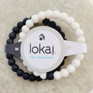 NWT Lokai Black and White Mt. Everest and Dead Sea Silicone Bracelet Set